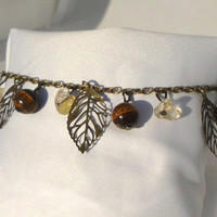 "Antique Gold Charm Bracelet, Tiger's Eye, Quartz Chips, & Filigree Leaves, ""Hazel"""