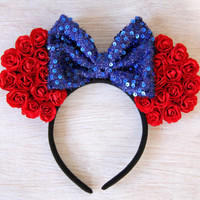 Snow White Mickey Ears, Snow White Ears, Flower Mickey Ears, Princess Mickey Ears, Disney Ears, Minnie Mouse Ears, Snow White, Custom Ears