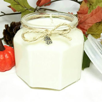 Repurposed Candy Jar Soy Wax Candle/Octagon Glass Jar/Pumpkin Pie Spice Scented Candle/Autumn Fall Thanksgiving Home Decoration