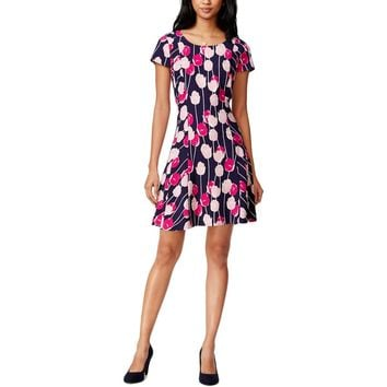 Maison Jules Womens Floral Tulip Casual Dress