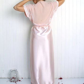 Long Pink Robe, Pink Satin Robe, Bridesmaids Robe, Morning Robe, Pastel Pink Kimono, Chiffon Robe, Satin Bridal Robe