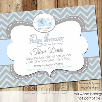 Elephant Baby Shower Invitation - Blue and Gray Grey Chevron - Baby Boy - PRINTABLE Invitation Design