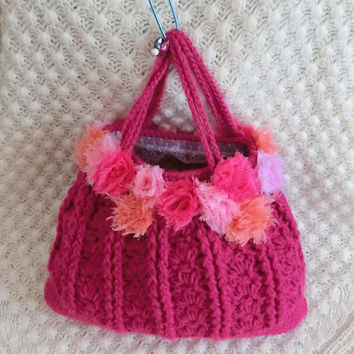 Pink Floral Crochet Bag Girls Women's Crochet Bag Purse Holiday Gift Ideas Girls Accessory Kawaii Bag