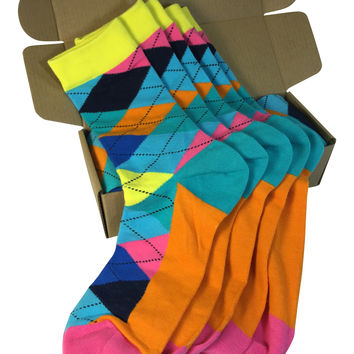 5 Pair Groomsmen Wedding Party Socks - Teal/Orange/Blue Argyle