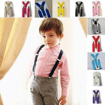 CREYONJ Boys Girls Kid Children Clip on Y Back Elastic Suspenders Slim Adjustable Braces Baby Clothes Brands