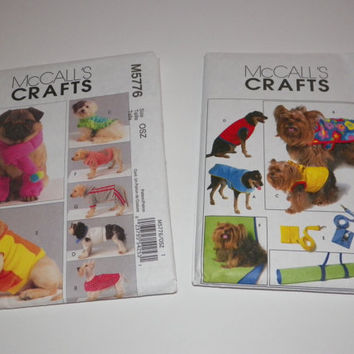 McCall's Crafts Dog Clothes Coats and Accessories Sewing Pattern Bundle of 2