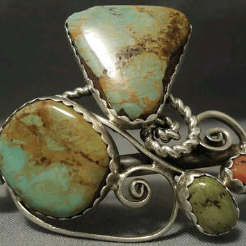 LIZ P.M. Bridal Green Turquoise Cuff Sterling Bracelet Native American Old Pawn