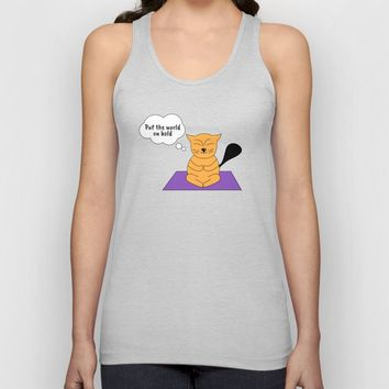 Beatrice. The cat that thinks... Yoga Unisex Tank Top by ArtGenerations