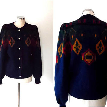 Dark blue knitted cardigan / mustard / red / dark green / diamond knit / button up / vintage / boho / medium / chunky knit / wool cardigan