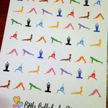 Set of 49 Pre-cut Yoga Poses Stickers   - Perfect for your Erin Condren, Plum Paper, Filofax, planner or scrapbook