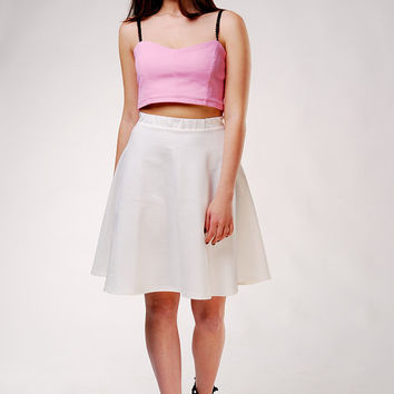 Midi Cream Skater Skirt / High Waisted Circle Skirt / Summer Skirt / Ivory Skirt / White Skirt / Fashion Skirt / Minimalism