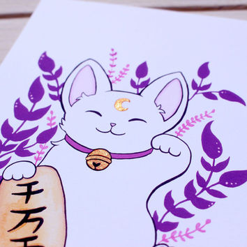 Hand Embellished (Gold) Plant Maneki Neko Art Print - S or M (5x7in or 8.5x11in) - Purple - Signed - Lucky Cat, Japanese, Japan, White