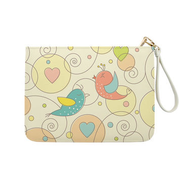 Lovebird - 7x9 in Faux Leather Handbag - Clutch - Pouch - AGB-014-FULL