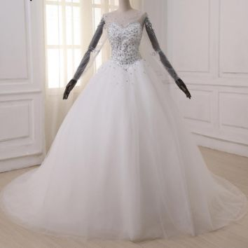 Ball Gown Wedding Dresses Long Sleeve Wedding Gowns Pearls Crystals Sweep Train Bride Dress