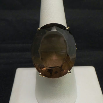Vintage 14K Yellow Gold 36.92 ct Smoky Topaz Cocktail Ring - Size 9.5