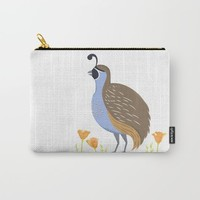 California quail in poppies Carry-All Pouch by Creative Break