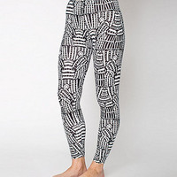 NeoMax Lined Monk Black and White Print Cotton Spandex Jersey Leggings
