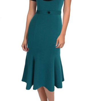 Green Short Sleeve Color Block Flounced Dress