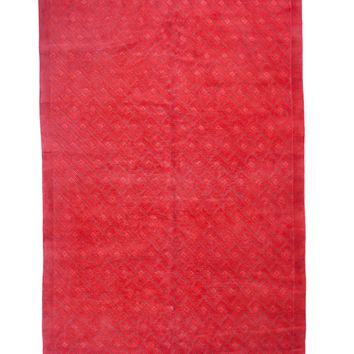 6x9 Overdyed Carved Modern Watermelon Red Rug 1137