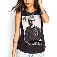 FOREVER 21 Frida Kahlo Muscle Tee Black/Taupe