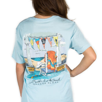 Lauren James I'd Rather Be At The Beach Tee- Blue