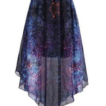 Purple Fashion Cloud Dip Dye Stars Earth Galaxy Chiffon Skirt JH-019 = 1946174788
