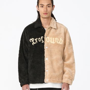 Split Color-Blocked Shearling Jacket