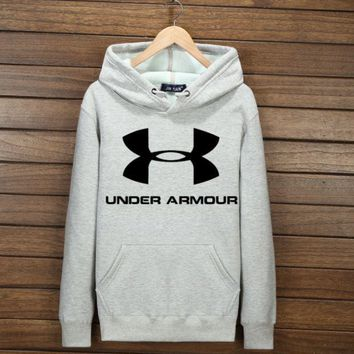 Gray Under Armour Print Casual Loose Sport Sweater Pullover Hoodies