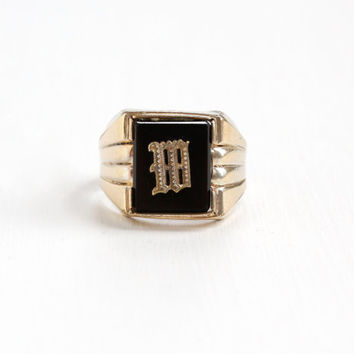 "Vintage 10k Rosy Yellow Gold Filled Simulated Onyx Initial ""M"" Ring - 1960s Size 9.5 Clark & Coombs Signet Letter Personalized Mens Jewelry"