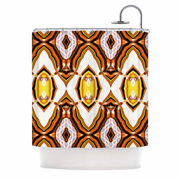 "Dawid Roc ""Inspired By Psychedelic Art 1"" Orange Pattern Shower Curtain"