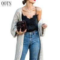 OOTN Black Tank Tops Women Autumn Strap Lace Top Sexy Female Satin Slip Crop Tops 2017 Summer Ladies Silk Camisole Cropped Blue
