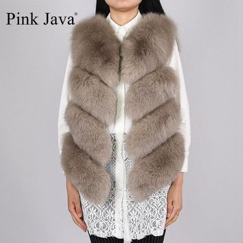 pink java QC8005  New arrival hot sale natural real fox fur vest gilet for women girls FREE SHIPPING