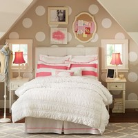 Pop Dot Duvet Cover + Sham, Bright Pink