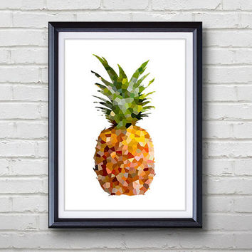 "Vibrant Pineapple Art - A4 or 5""x7"" Print - Pineapple Art Print, Kitchen Decor, Wall Decor, Home Decor Housewares, House Warming Gift"