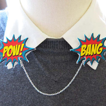 Comic Book Geekery Double Collar Brooch Word Bubbles Pow and Boom Pins