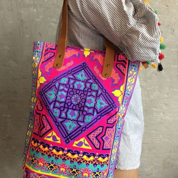 Tile style Beach bag / Gift for her / Neon Bag / Orange bag / Beach totes / Boho tote Summer / Bachelor Party