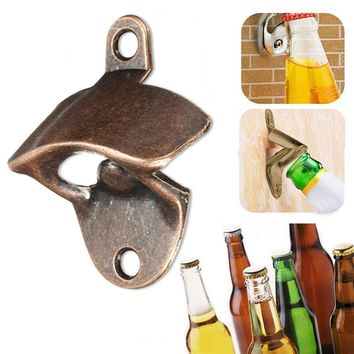 2017 Hot Selling Vintage Bronze Wall Mounted Opener Wine Beer Soda Glass Cap Bottle Opener Kitchen Bar Gift 1PCS