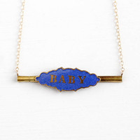Antique Baby Necklace - Vintage Blue Enamel Gold Filled Pin Conversion Pendant - 1910s Edwardian Bar Brooch Nameplate Jewelry on Chain