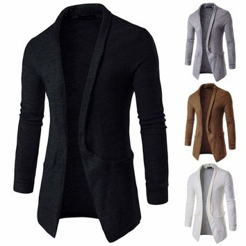 New Men Luxury Knitted Cardigan Long Sleeve Casual Slim Fit Sweater Jacket Coat