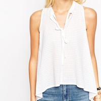 ASOS Sleeveless Seersucker Top With Keyhole and Tie Front at asos.com