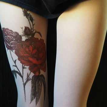 botanical art,red  roses ,tattoo tight,hosiery