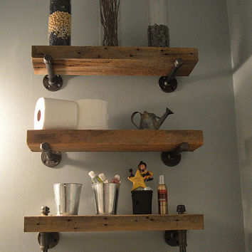 Reclaimed Barn Wood Bathroom Shelves