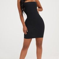 Shape Black Diamante Strap Bodycon Dress