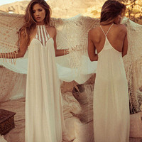 Sexy Casual Maxi Dress 2015 New Plus Size Women Clothing Ladies Summer Fashion Hollow Out Strapless Loose Halter Beach Chiffon Long Dresses