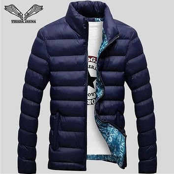 VISADA JAUNA Winter Jackets Mens 2017 New Stylish Slim Fitness Quilted Long Sleeve Cotton-Padded Solid Thick Parkas XXXXL N439