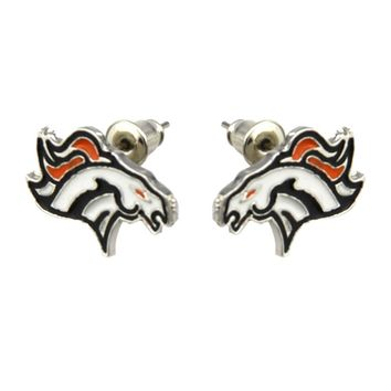 PAIR Stainless Steel Denver Broncos Ear Stud Piercing Body Jewelry Earring Pin Helix Tragus Cartilage