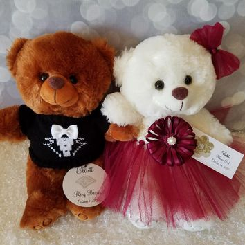Flower Girl and Ring Bearer Teddy Bear Gift Set with two 11inch Bears