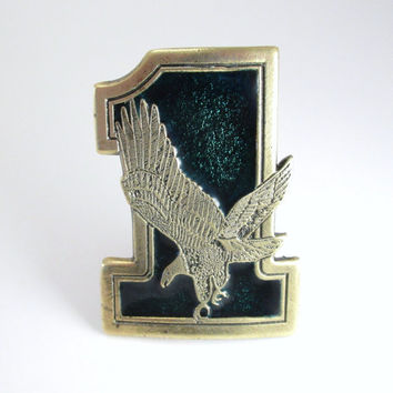 1975 Eagle 1 Belt Buckle, Vintage Great American Buckle Company Buckle, #1 Eagle Belt Buckle, Motorcycle Belt Buckle, Hunter Dark Green