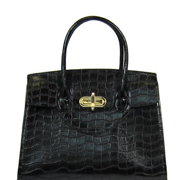 Exotic Embossed Top Handle Bag