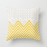 Chartreuse Chevron and dots  Throw Pillow by Allyson Johnson